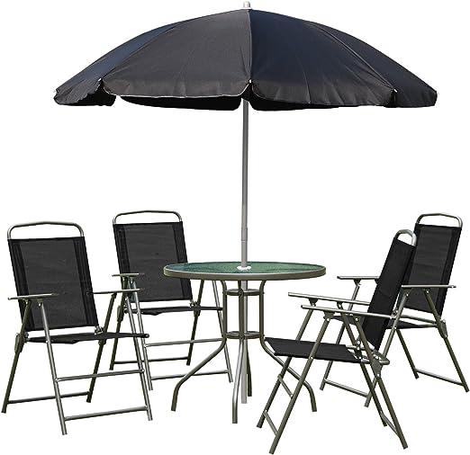 Outsunny 1571260031 - conjunto de muebles para jardin terraza o patio con 4 sillas 1 mesa y 1 parasol - textilene, aluminio y poliester: Amazon.es: Jardín