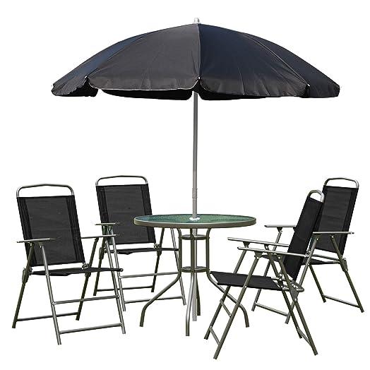 Outsunny 6 PCs Garden Patio Furniture Set Bistro Set Textilene Folding  Chairs +Table +Parasol