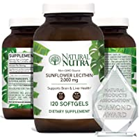 Natural Nutra Sunflower Lecithin 2000 mg, Phosphatidyl Choline, Brain Health, Reduce Clogged Ducts, Improve Liver Function, Memory Booster, Non-GMO, Gluten-Free Supplement, 120 Softgels (3 Pack)