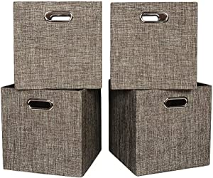 Oprass Storage Basket or Bin, Collapsible & Convenient Storage Solution for Office, Bedroom, Toys, Laundry ?¨º?¡ì11x11x11?¨º?4 Pack Brown