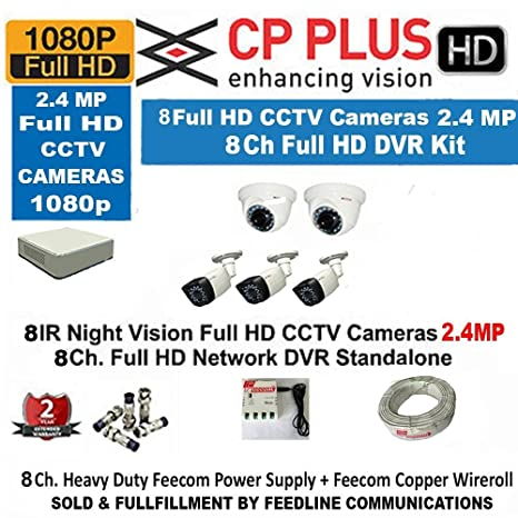CP Plus 8-Channel DVR Kit Dome Cameras at amazon