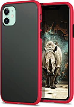 Shockproof Style , Transparente Mate Case YATWIN Funda para iPhone 11 Carcasa Protectora para Apple iPhone 11 2019 Rojo TPU Bumper Rubber y Botones Coloridos 6,1