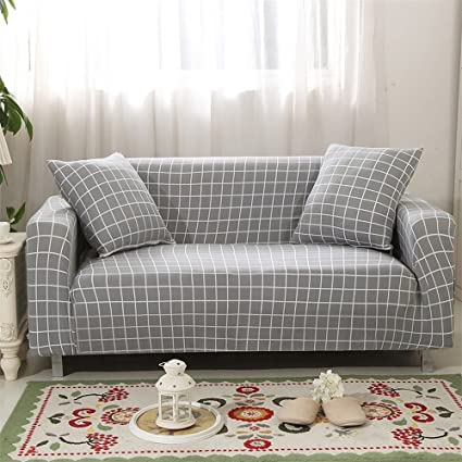 CHITONE Antiskid Spandex Stretch Big Elastic Whole With Simple Print  Pattern Western Style Plaid Sofa Slipcovers