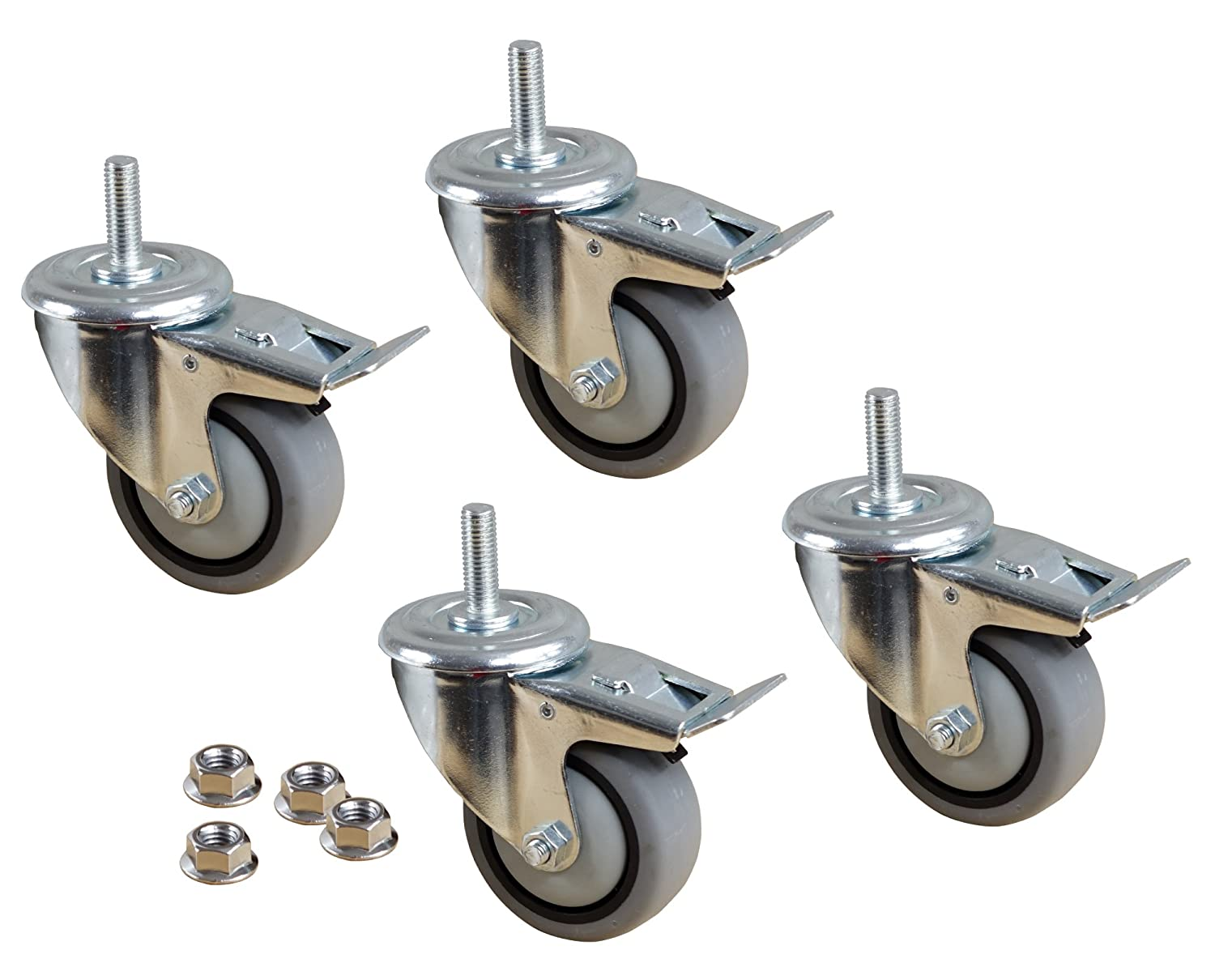 POWERTEC 17201 3 TPR Swivel Dual Lock Caster Kit 4 Pack