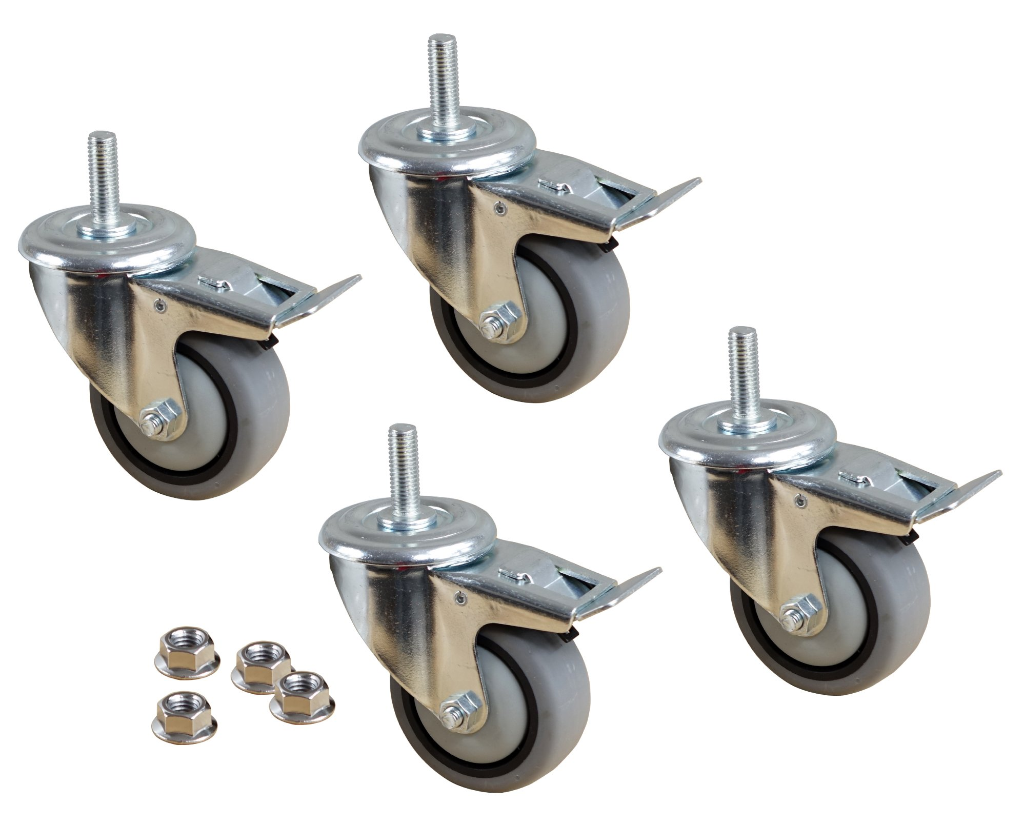 POWERTEC TPR Kit 17201 3'' Dual Locking Swivel Gray Thermoplastic Wheels Heavy Duty 150 Lbs Per Caster (Set of 4), 3-Inch by POWERTEC