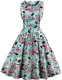 Là Vestmon Damen Retro Cocktailkleid Schwingen Vintage Rockabilly Kleid Faltenrock