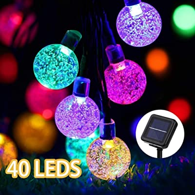 GreenClick Solar String Lights Outdoor, 25ft 40 Led String Lights Crystal Ball Solar Powered String Lights for Bedroom, Garden, Party, Festival (Multi-Color) : Garden & Outdoor