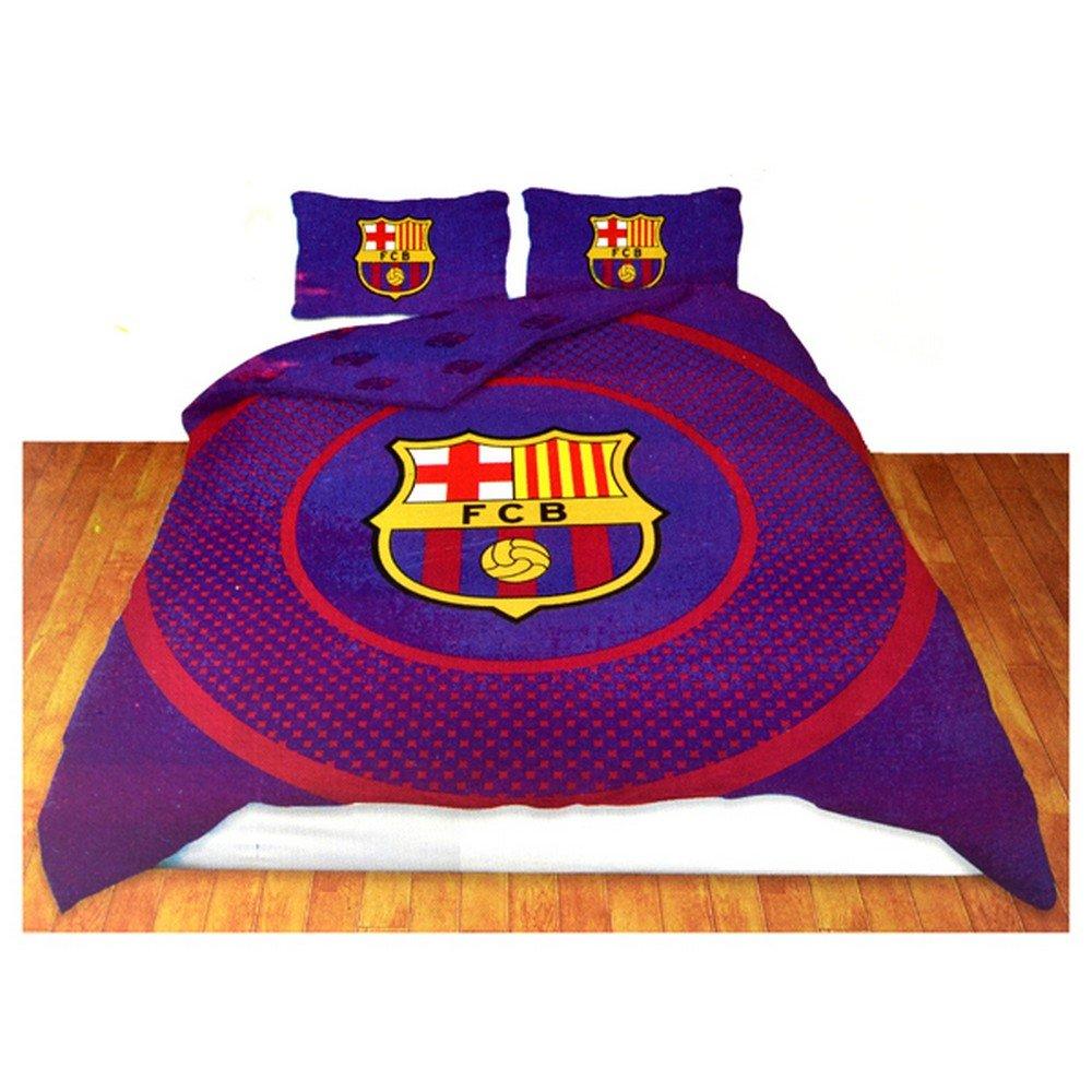 Parure De Lit R Versible Motif Rond Fc Barcelone Bleu Grenat 2