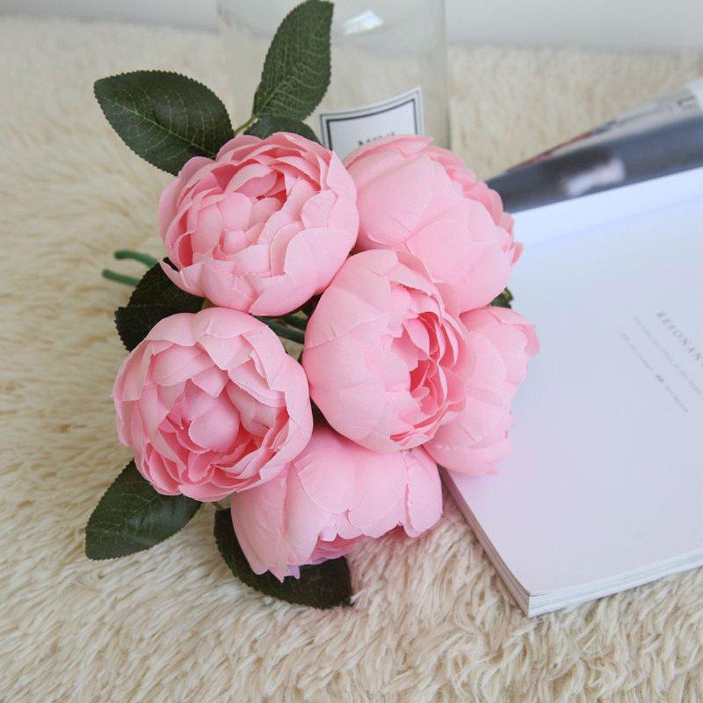 2019 Flores Artificiales Decoración Doradas Boda Tallo Largo Para Manualidades Exterior Grandes,1 Bouquet 6 Cabezas De Seda Artificial De Seda Hoja De Flor ...