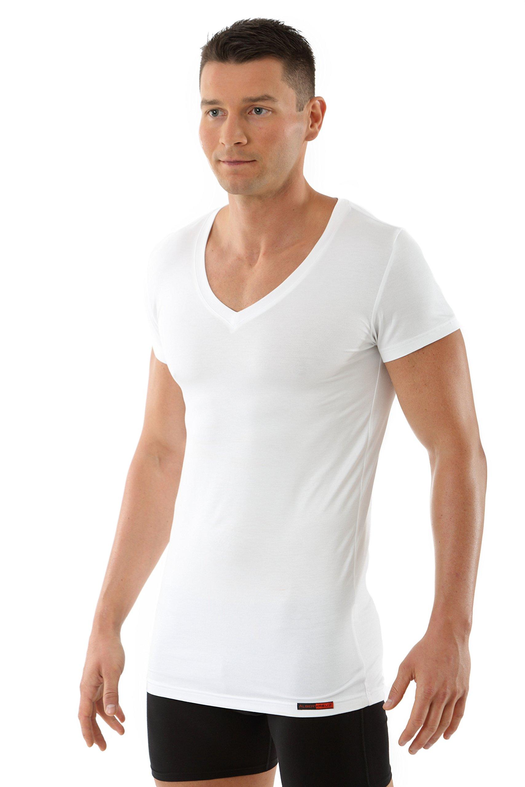 ALBERT KREUZ men's V-neck business undershirt with short sleeves of breathable Micromodal white M