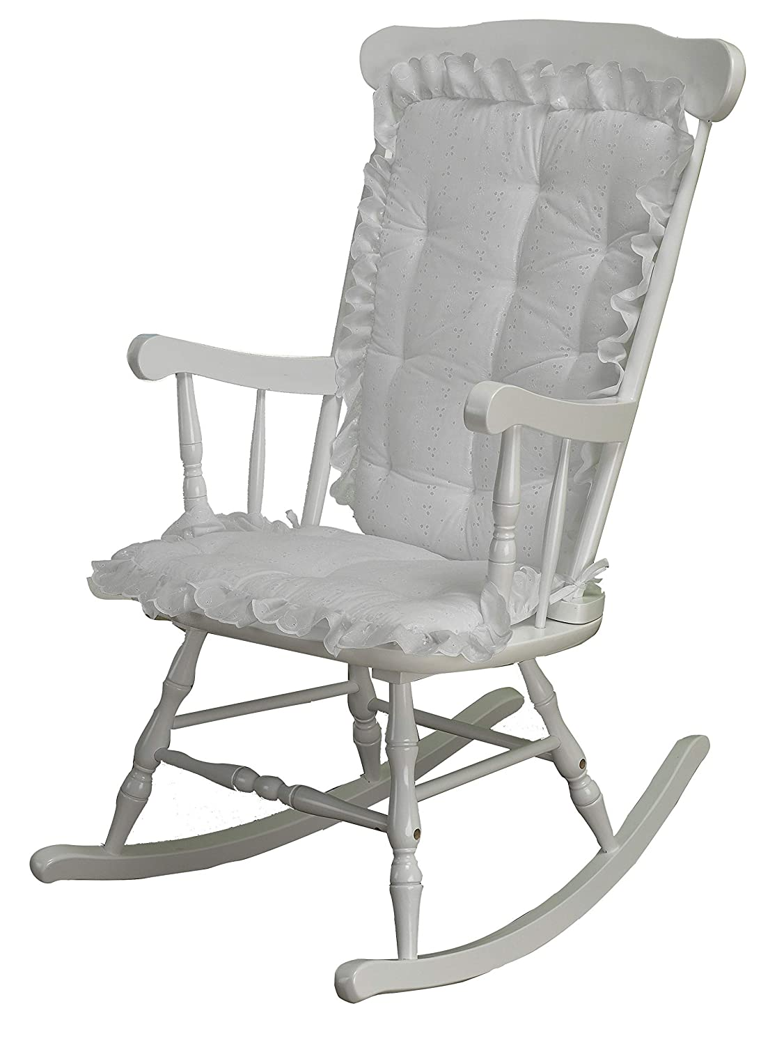 White Eyelet Machine Washable Seat and Seat Back Cushions Seat Cover or Replacement Pads for Rocker or Glider ABABY.COM Rocking Chair Cushion Pad Set