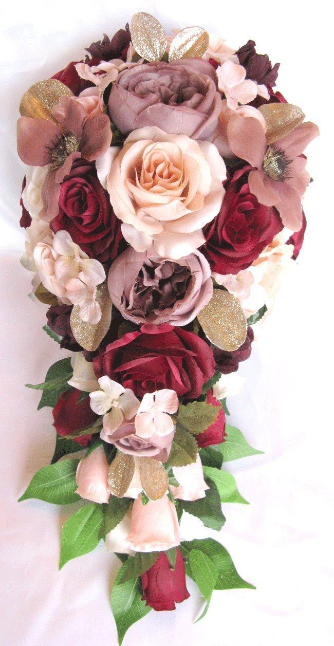 Amazon Wedding Bouquet 17 Piece Package Bridal Bouquets Silk