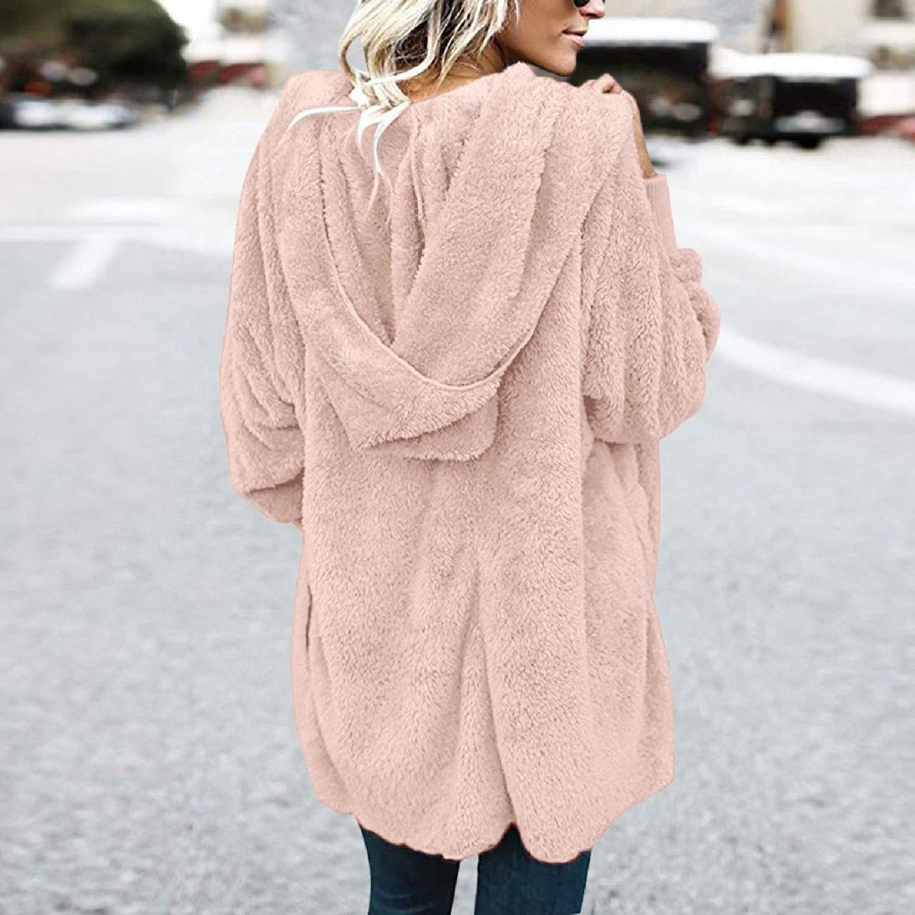 Reokoou Womens Warm Cotton Coat Oversized Plush Long Sleeve Jacket Casual Fuzzy Shaggy Parka Outwear Cardigan Hoodie Top