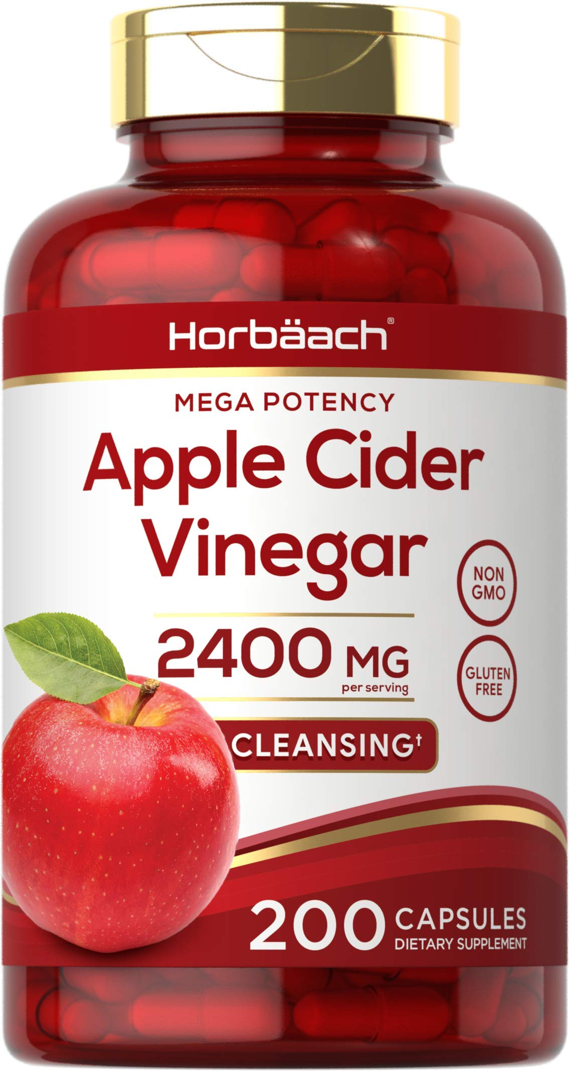 Apple Cider Vinegar Capsules | 2400mg | 200 Pills | Non-GMO, Gluten Free | by Horbaach