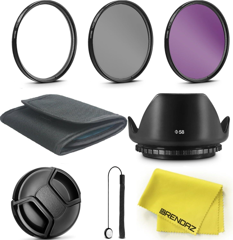 58mm Lens Filter Accessory Kit by BRENDAZ for Canon EOS Rebel T6 T6i T5i T4i T3i T3 T2i T1i XT XTi XSi SL1 DSLR Camera, UV CPL FLD Filter with Tulip Lens Hood Bundle.