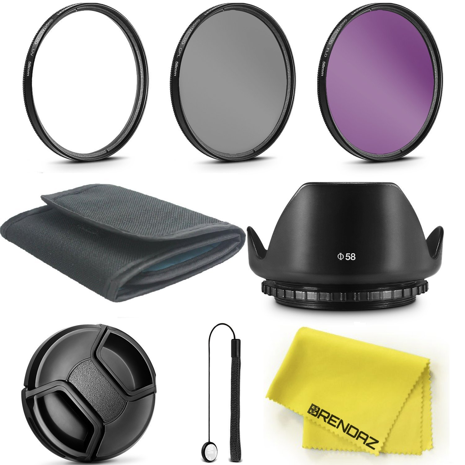BRENDAZ 52mm UV CPL FLD Lens Filter & Lens Hood Kit w Lens Cap, Cap Keeper, Pouch Cloth for NIKON D3300 D3200 D3100 D7000 D7100 DSLR Camera and all other Lenses with 52mm thread by BRENDAZ