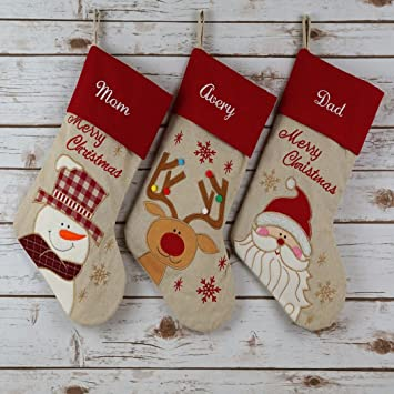 wewill 17 personalized linen christmas stockings custom name embroidered - Embroidered Stockings Christmas