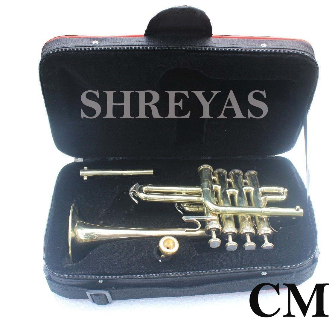 Shreyas Top Quality Picollo BB Pitch Piccolo Trumpet Brass Finish With Mouth Piece