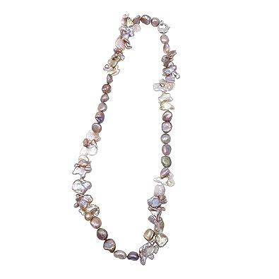 bd1c02ef74cb Pearl Caviar - Collar de perlas de cultivo de agua dulce. Calidad Exclusive  AAA - Color Natural - Cierre Plata 925 brillante - enfilage sobre hilo de  seda  ...