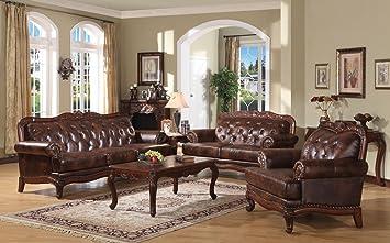 Amazon.com: Acme 05945A Birmingham Leather Sofa, Tri-Tone Finish ...