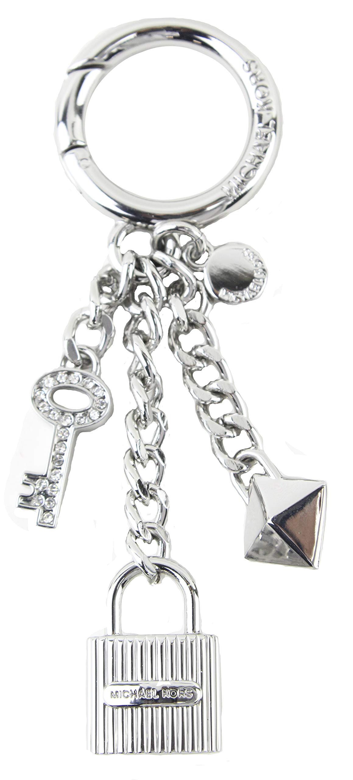 MICHAEL Michael Kors Silver Lock and Pave Key Handbag Charm Key Fob Keychain with Gift Box, Style 35F8SKCK7U