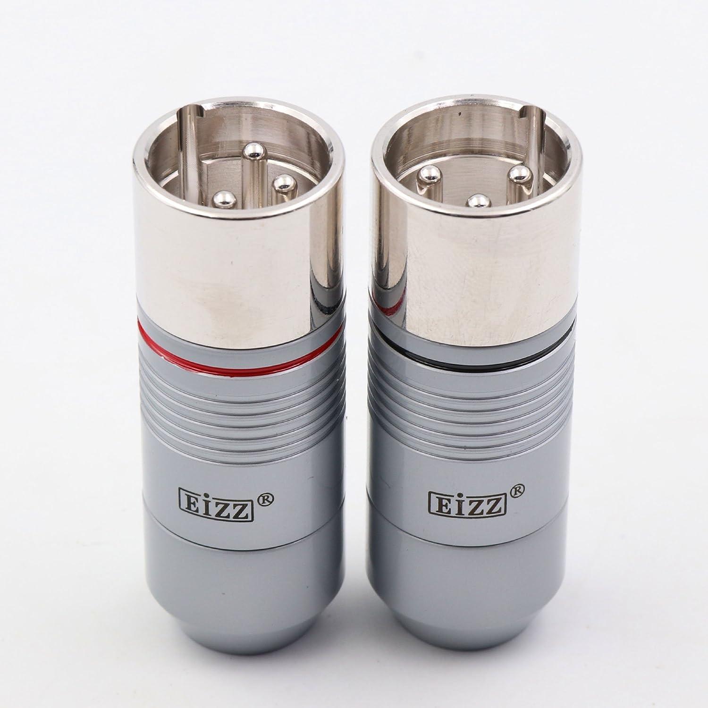 eizz 2pcs Platinum Macho de 3 Pines XLR Conector Chapado en XLR ...
