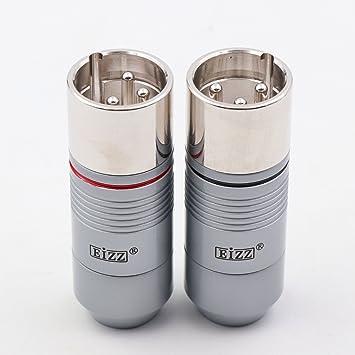 eizz 2pcs Platinum Macho de 3 Pines XLR Conector Chapado en ...
