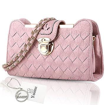 Yoome tejida retro bolsas pequeñas bolsa de la universidad para las niñas Elegante cadena bolsas para las mujeres bolsas - Lotus Pink: Amazon.es: Equipaje