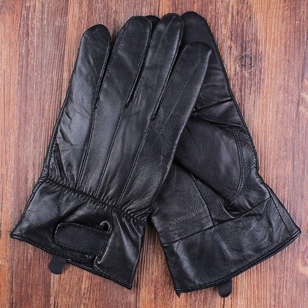 HELEVIA Guanti da uomo in pelle antivento touch screen guanti impermeabili e antivento guanti termici invernali caldi per attivit/à allaperto
