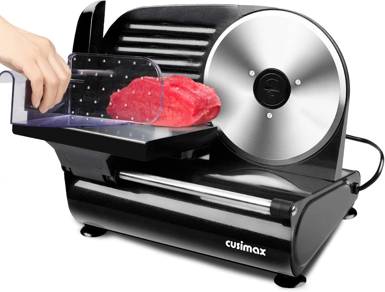 CUSIMAX Meat Slicer, Electric Deli Food Slicer with 7.5' Removable Stainless Steel Blade, Food Carriage & Pusher, Cheese Bread Fruit Vegetable Cutter, Adjustable Thickness Dial, Non-Slip Feet, Compact, Black