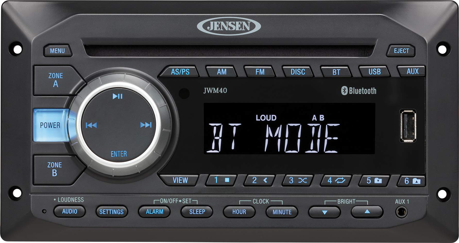 Jensen JWM40 AM/FM|DVD|CD|USB|AUX| Bluetooth (A2DP & AVRCP) Wallmount Stereo, 2-Speaker Zone / 4 Speakers, Plays: CD, CD-R, CD-RW, DVD, DVD+RW, DVD-RW, DVD-Video, MPEG-4, VCD, JPEG, CD-DA, MP3, WMA