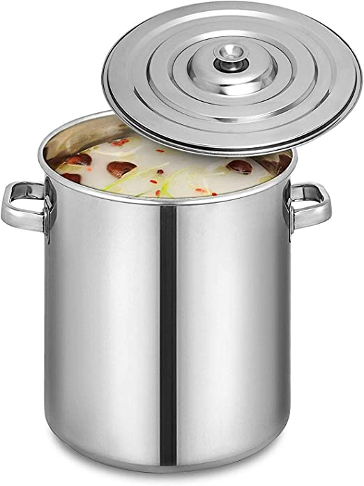 95QT Stainless Steel Stock Pot Brewing Beer Kettle Business Oven Safe Home Use