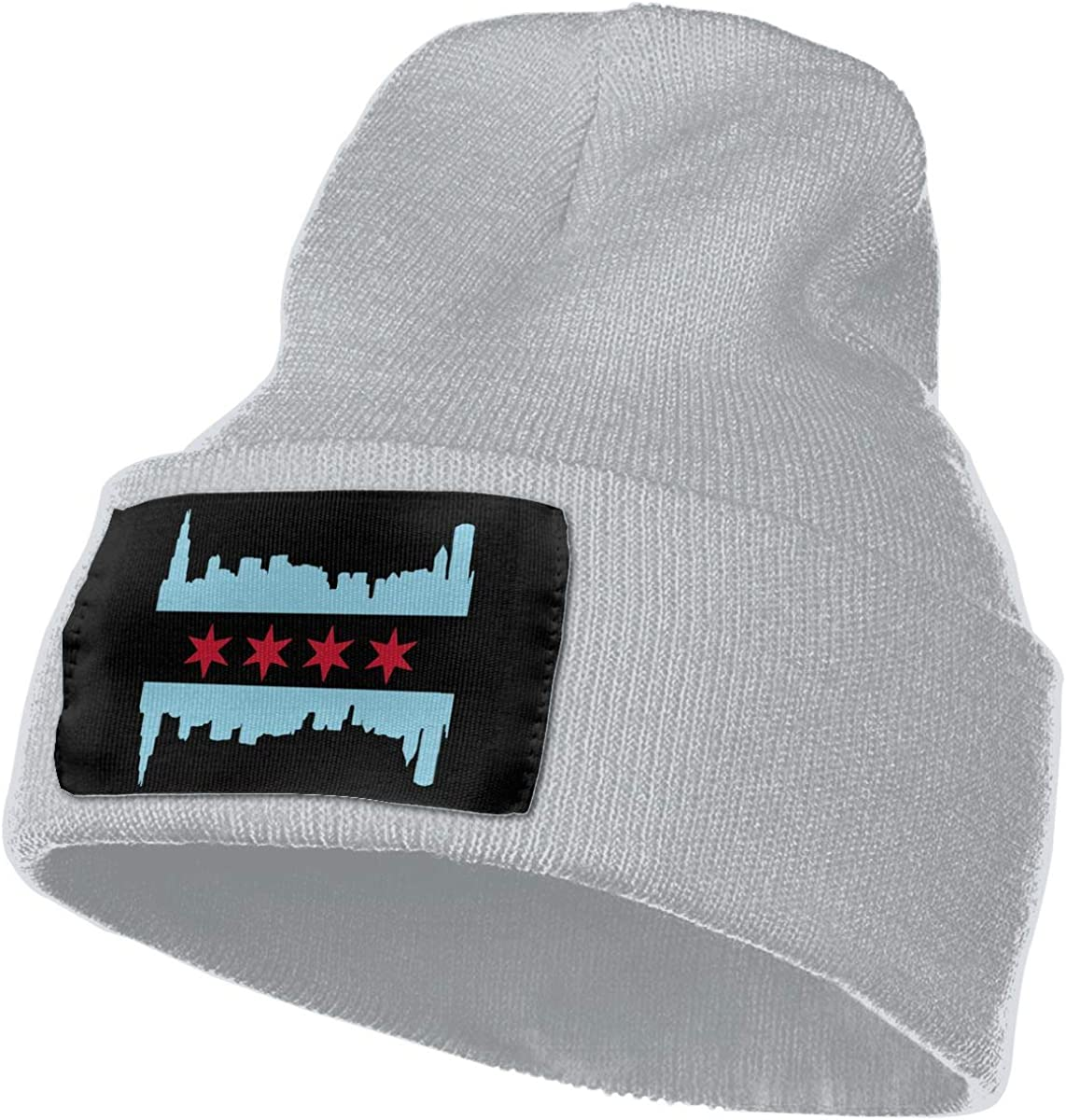 WHOO93@Y Mens and Womens 100/% Acrylic Knitting Hat Cap Chicago Flag with Buildings Skyline Thick Ski Cap