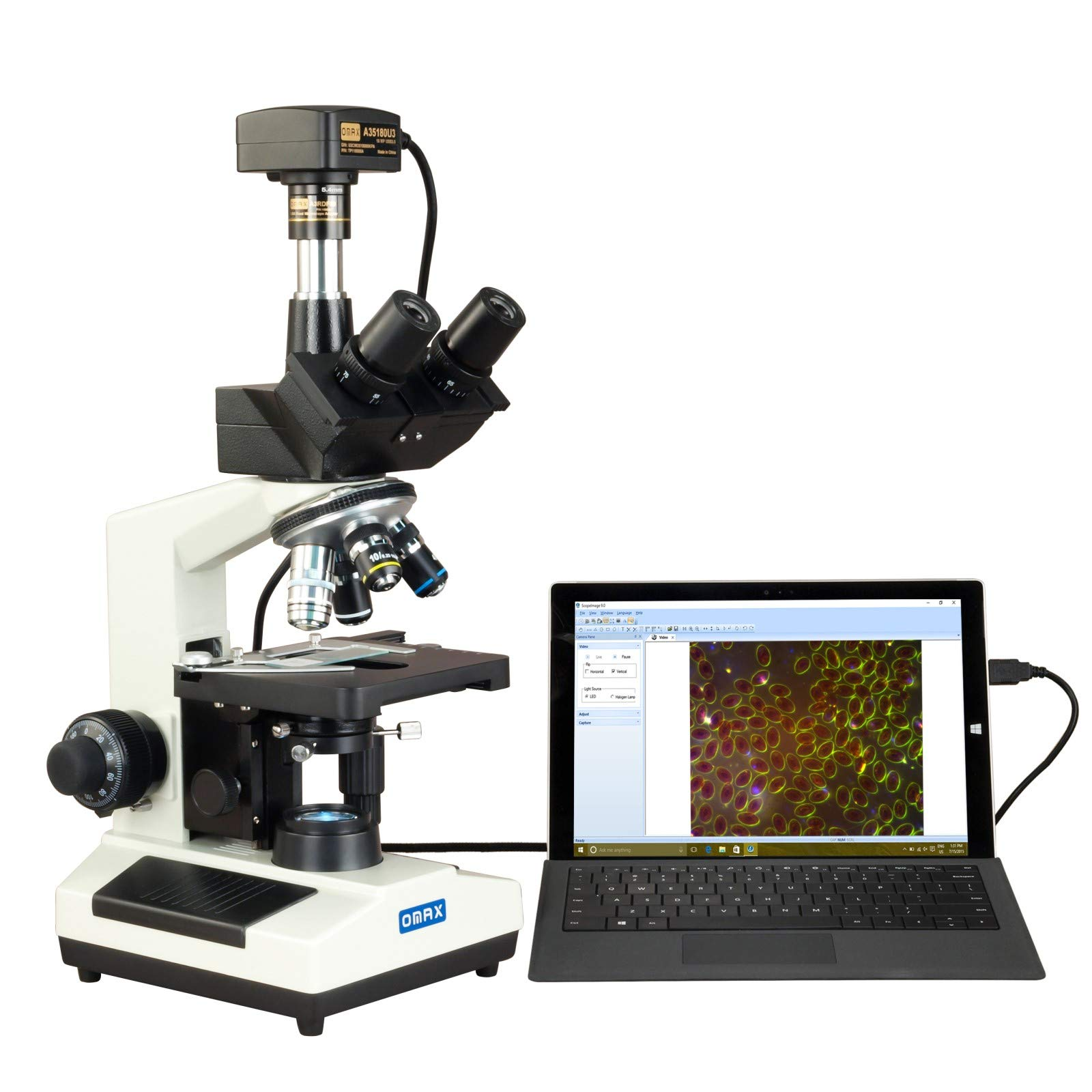 OMAX 40X-2500X Super Speed USB3 18MP Digital Darkfield Trinocular LED Lab Microscope for Live Blood by OMAX