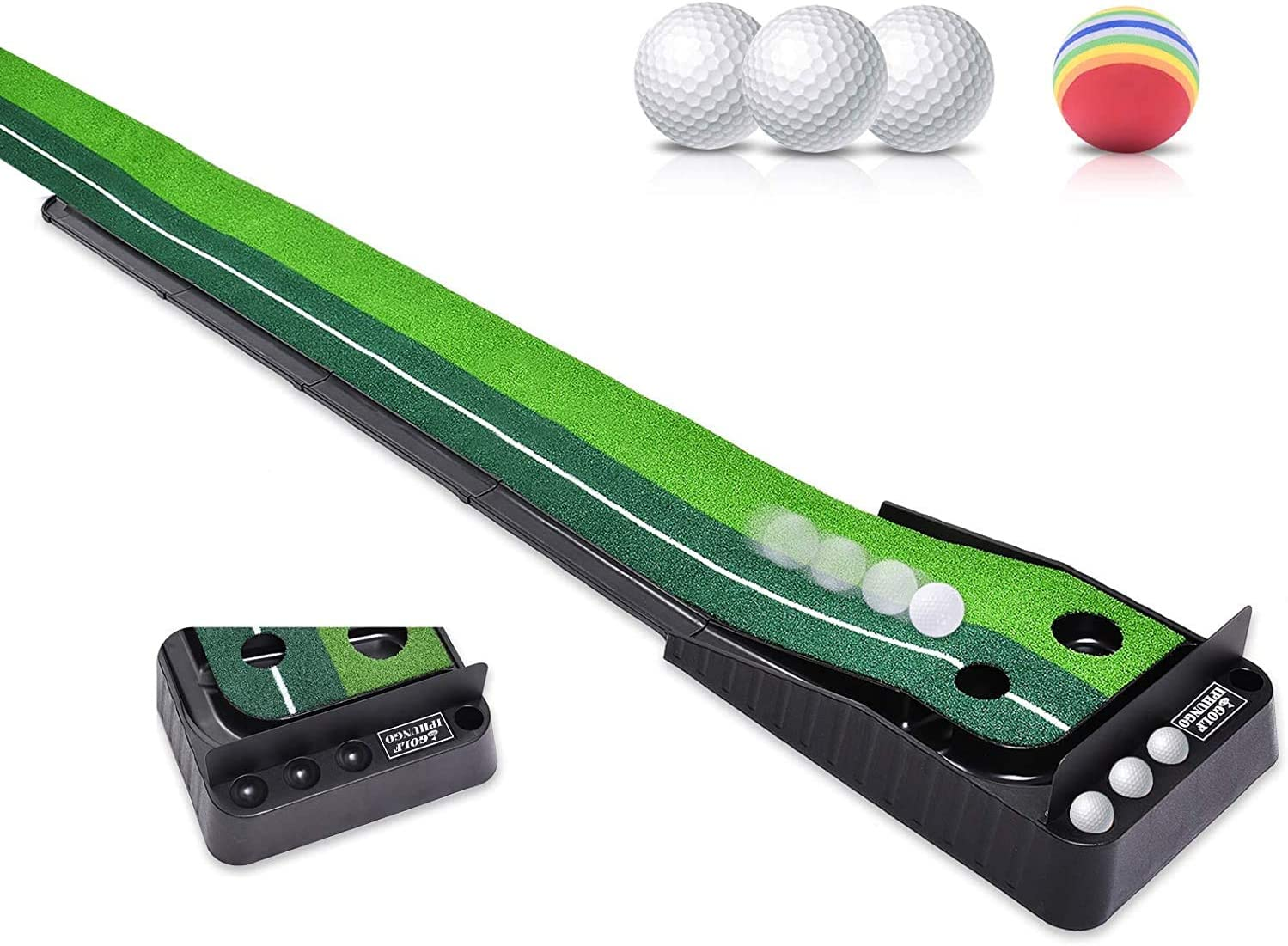 IPHUNGO Indoor Golf Putting Green - Extra Long 9.84Ft Mat with Auto Ball Return Function 2 Holes and 3 Golf Balls 1 Sponge Ball Mini Golf Practice Training Aid, Office,Game,Home, Office, Outdoor Use
