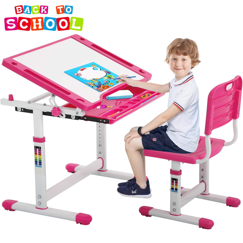 FDW Chair Set Children Desk, Pink by FDW