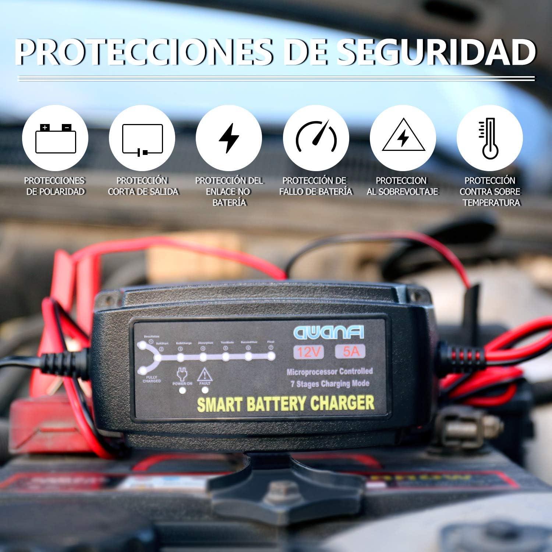 Barco y Camiones 12V 5A Autom/ático Inteligente Mantenedor Bateria Coche y Protecciones M/últiples para Bater/ías Plomo /Ácido AGM,Gel,Wet,MF,EFB para Coches,Moto,ATVs,RVs AWANFI Cargador Bater/ía Coche