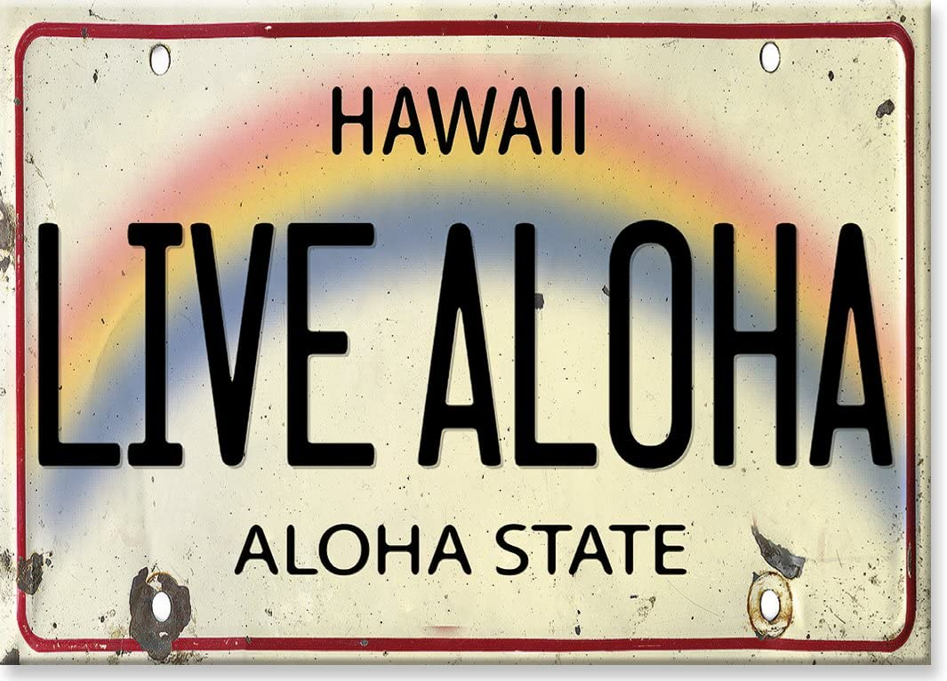 6in x 12in Vintage Hawaiian Embossed License Plate Live Aloha