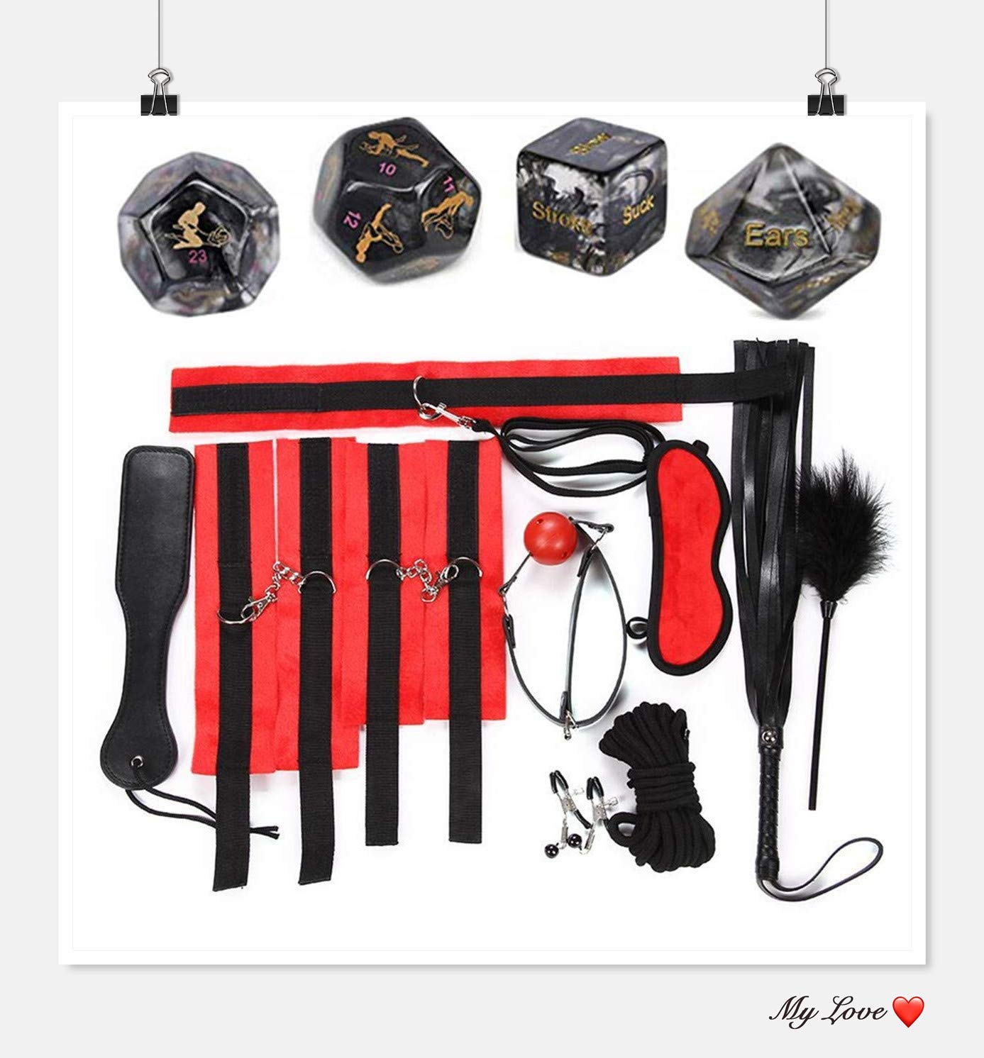 Black Eye Mask Clip Shoulder Strap Dices Set of 10 Game Gifts by ZTTT