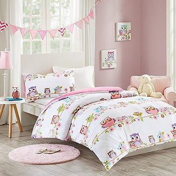 MIZONE KIDS Owl 2 Tlg Kinderbettwäsche Set Mit Eule 100% Baumwolle  Bettgarnitur Mädchen Jugendliche