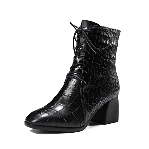 c8aa5ed868f JIEEME Ladies Lace-up Square Toe Block Heels Genuine Leather Boots ...