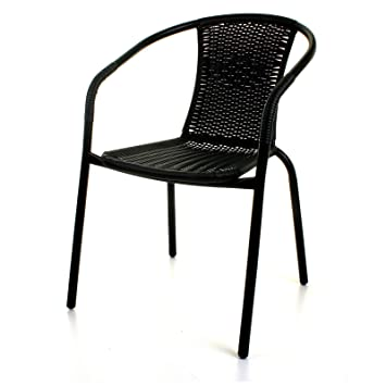 Marko Outdoor Black Outdoor Wicker Rattan Bistro Chair Metal Frame Woven  Seat Indoor Outdoor (4