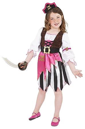 Smiffys - Disfraz de pirata rosa para niña, talla S (4-6 años ...