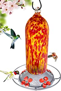 Grateful Gnome - Hummingbird Feeder - Hand Blown Glass - Fiery Bell Tower - 20 Fluid Ounces Free Bonus Accessories S-Hook, Ant Moat, Brush and Hemp Rope Included