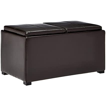 Delicieux First Hill Junia Faux Leather Storage Ottoman And 2 Small Ottomans    Espresso Bean Brown