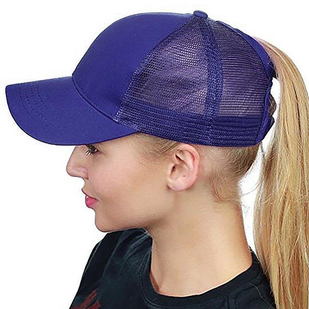 Lamdgbway Baseballkappe Justierbare Messy Pferdeschwanz Br/ötchen Hut