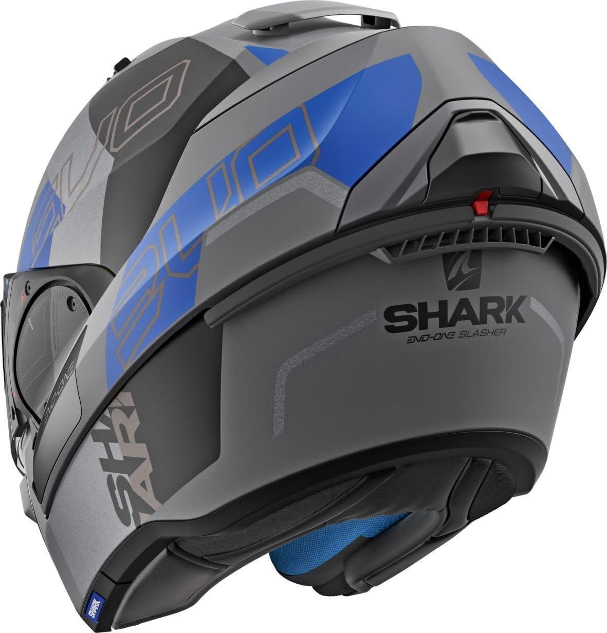 Anthracite//Blau Shark Motorradhelm EVO-ONE 2 SLASHER MAT AKB XS