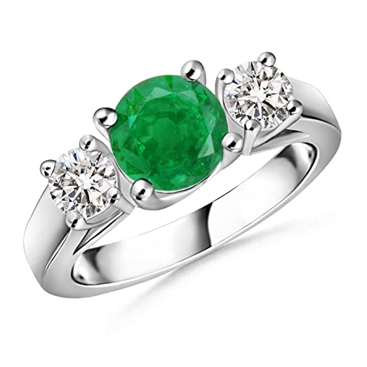 Angara Classic Three Stone Emerald and Diamond Cathedral Ring in Platinum i2tHq2fy9