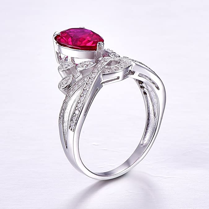 Auzeuner Women CZ Halo Heart Lab-Created Tanzanite 925 Sterling Silver Promise Ring