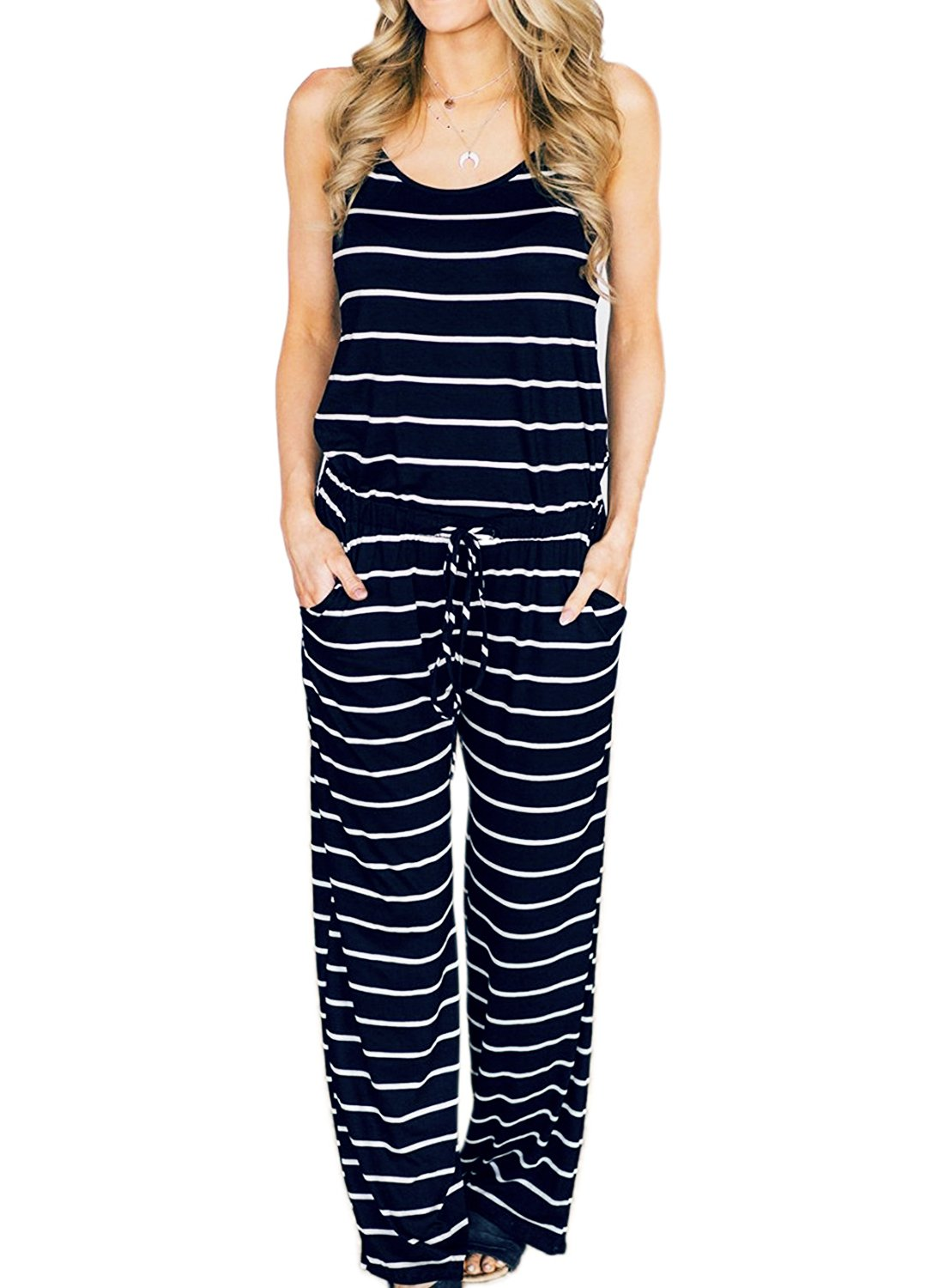 AMiERY Womens Blue Jumpsuits Summer Comfy Striped One Piece Jumpsuits Casual Wide Leg Long Pants Loose Sleeveless Jumpsuits Rompers (L, Navy Blue Stripes)